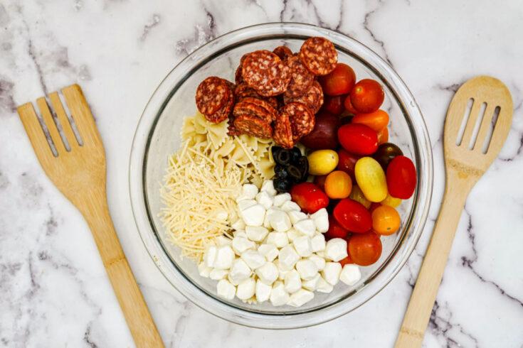 Balsamic Pasta Salad ingredients added to large bowl