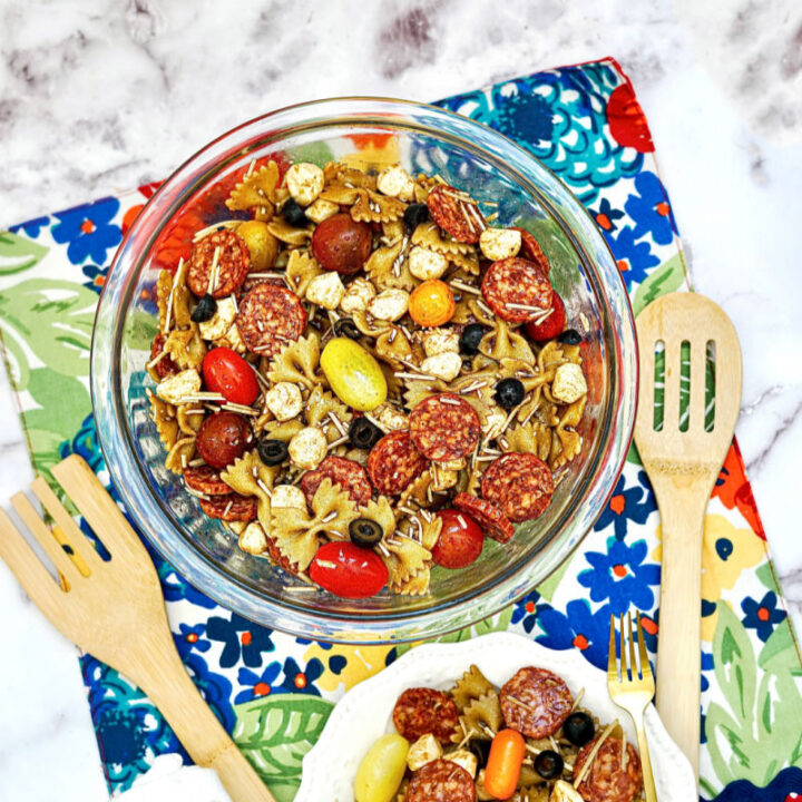 Balsamic Pasta Salad in dish on counter