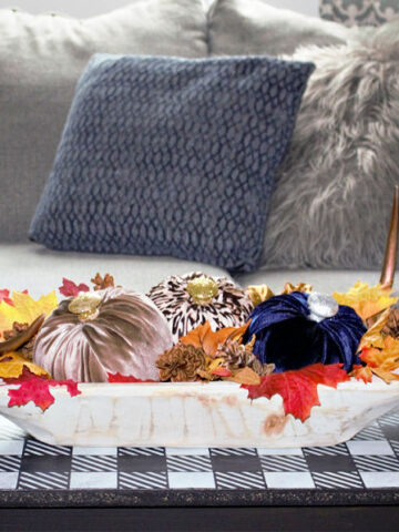 dough bowl on bench with velvet pumpkins