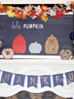 fall mantel in blue and orange