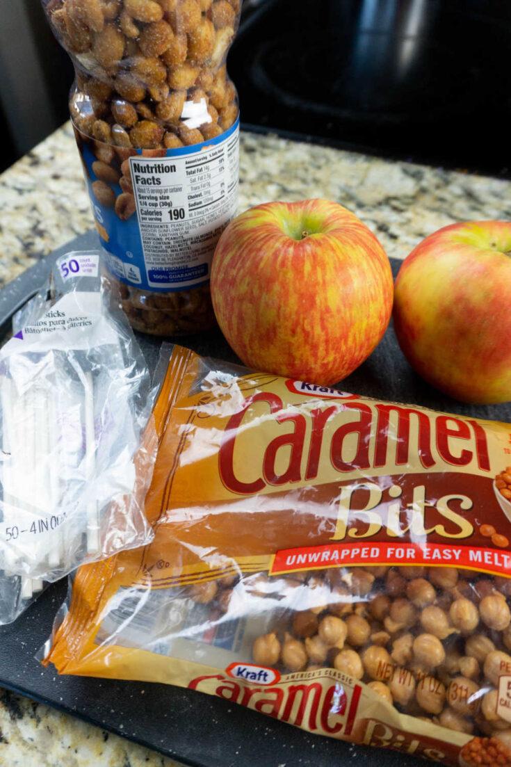 ingredients for caramel apple pops