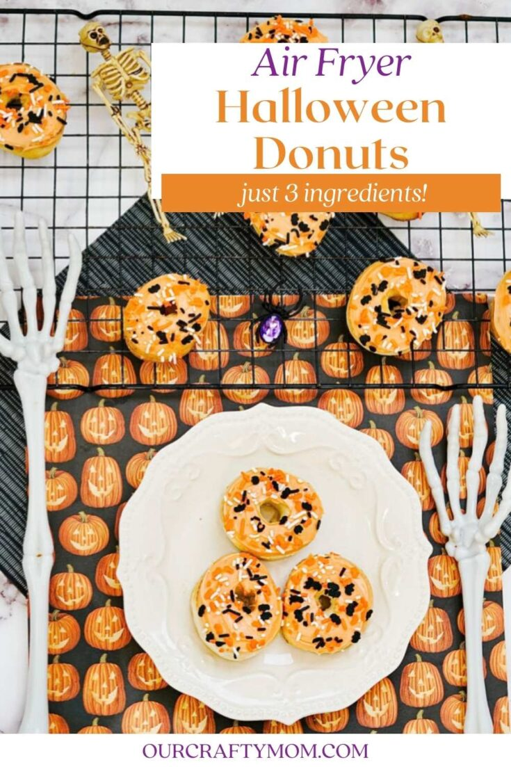 Halloween donuts pin with text overlay