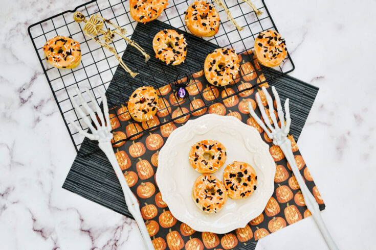 white plate with Halloween donuts